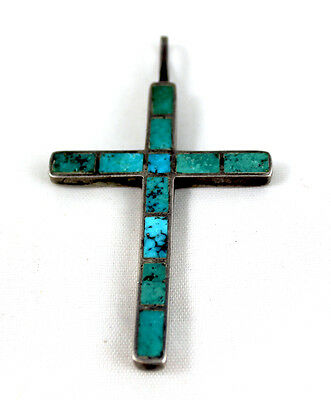 Rare! Zuni Channel Inlay Natural Turquoise Cross Pendant Probably Mid-Century