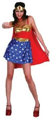 SW Ladies Costume Fancy Dress Super Hero Wonder Woman Cape & Headband 8 10 12 14