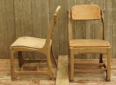 Pair of Vintage Child Chairs w/ Swivel Backs, Need sanded/stained.