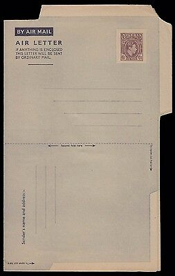 NIGERIA AFRICA 6d KG VI SCARCE EARLY UNUSED AIR LETTER POSTAL STATIONERY