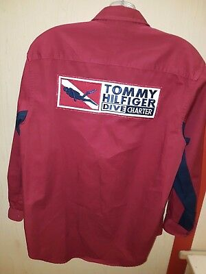 VINTAGE TOMMY HILFIGER DIVE CHARTER 90s VTG SHIRT BUTTON UP SMALL RARE SPELL OUT