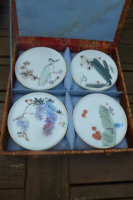 4 Chinese Vintage Handpainted Small Plates Signed 1970's Jingdezhen Zhi