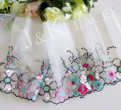 15.5 cm width Colorful Flowers Embroidery Mesh Lace Trim