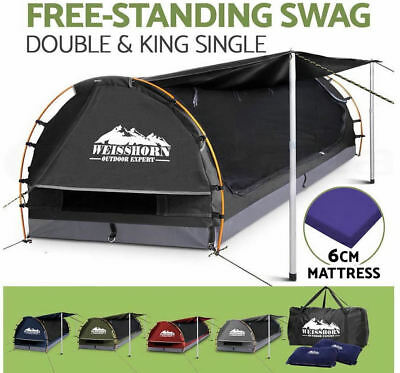 Double King Single  Camping Canvas Swag Free Standing Dome Tent Bag w/ Carry Bag