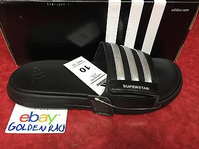 dd94715a44e7 Adidas Superstar 4G Men Black Slides Athletic Sport Sandals AQ5893 Sz 9-12
