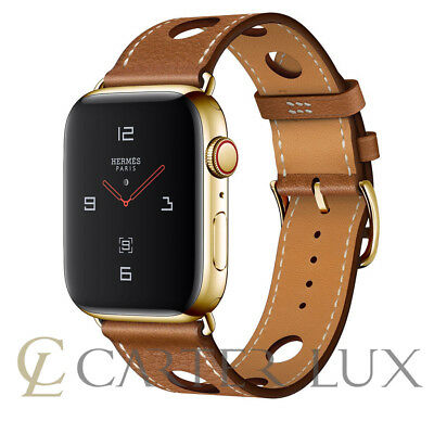 24k Gold Plated HERMES Apple Watch 42mm SERIES 3 Noir Gala Rallye Single, Custom