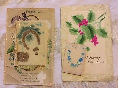 Antique Postcards - Mini Book - Set Of Two