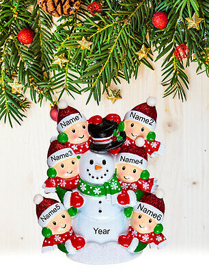Christmas Tree Ornament Holiday Gift, Personalized Snowman for Family of 2-3-4-5