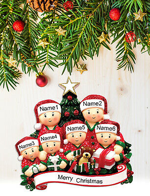 Personalized Christmas Tree Ornament Holiday Gift, Xmas Tree Family of 2-3-4-5