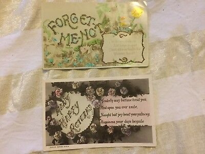 Antique Postcards - Glitter Greetings - Set Of Two