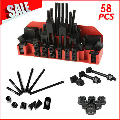"58pc 5/8"" Slot 1/2-13 Stud HOLD DOWN CLAMP CLAMPING SET KIT BRIDGEPORT MILL AL1"