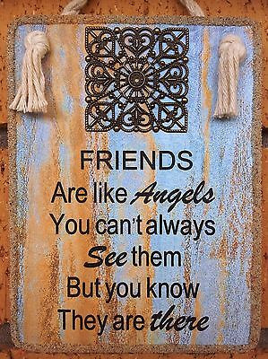 "Handmade Plaque  "" FRIENDS ARE LIKE ANGELS "" Inspirational Friendship Gift"