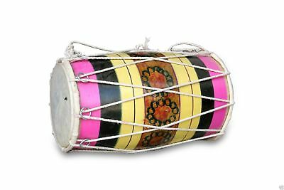 Handmade Rope Tuned Indian Mango Wood Musical Baby Dholak Dholaki 0128