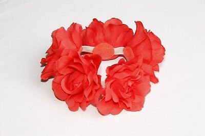 Girly Bright Fuchsia Pink Large Floral Rose Flower Summer Hairband (s202)
