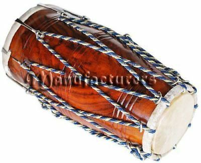 Dholak Drum Rope Bolt Tuned Sheesham Wood Dholaki Dhol Use In Bhajan Kirtan