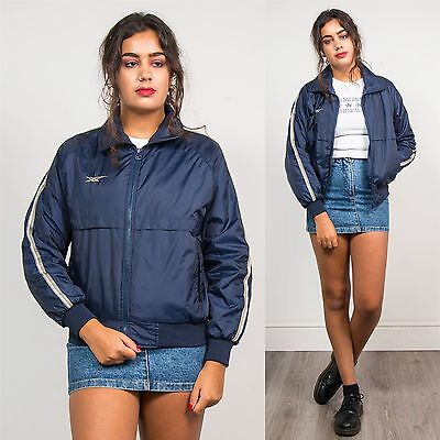 Asics 90's Vintage Womens Navy Blue Sports Tracksuit Jacket Striped Shell 10