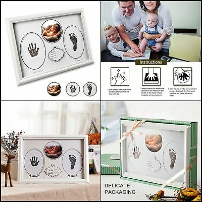 Handprint&Footprint Picture Frame Kit With No-Mess Ink Pad Clean&Elegant perfect