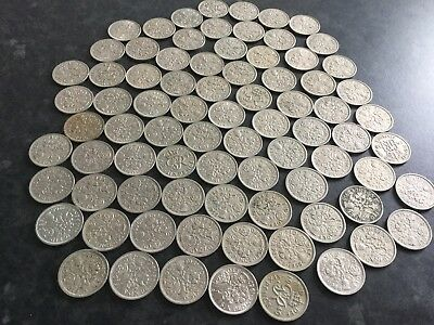 Job Lot Of 100 Old Six Pence Coins
