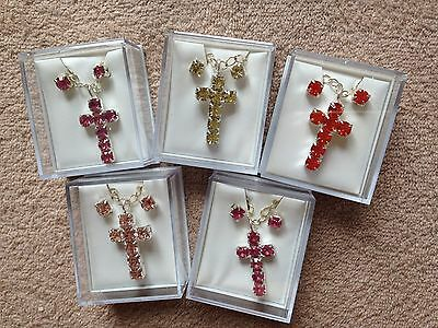 "JOB LOT-5 sets of coloured diamonte crosses. 17"" chain.Gift boxed.Silver plated."