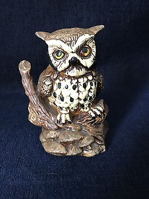 Wide Eyed Owl  Clay Figurine