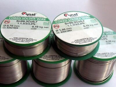 Solder Wire Lead free Sn99.3Cu0.7 Cynel multicored various Dia./ Reels DIY etc.