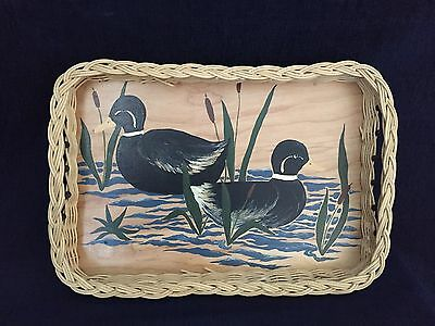 Wooden Serving Tray Hand Made Duck Scenery Hand Painted