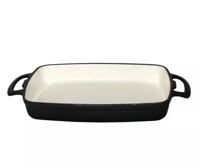 Vogue Rectangular Black Cast Iron Roasting Dish 2.8Ltr 55X390X235mm Baking