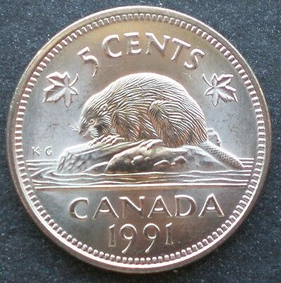 ★ 1991 5 Cents Brilliant Uncirculated with rays Low Mintage - 99¢ Postage Canada