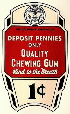Columbus, Quality Chewing Gum, White One Cent.  Water Slide Decal # Dc 1025