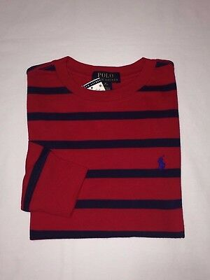 Nwt,polo Ralph Lauren Boy's Youth Stripes Long Sleeve T.shirts-Red / Navy