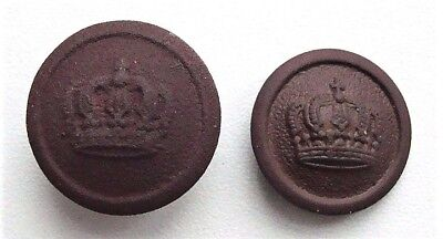 Lot of 2 WW1 German Army Uniform Buttons with Crown S7