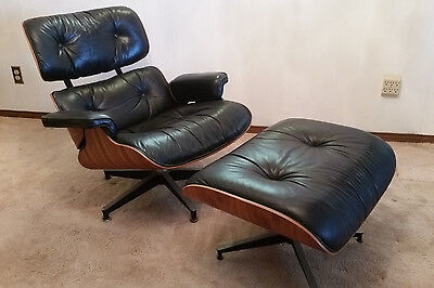 Charles Eames Herman Miller Original Rosewood 78 Blk  Leather Chair &ottoman