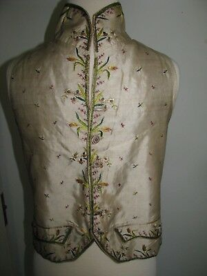 Antique Gentlemans Court Waistcoat C.1800  Ivory Silk Embroidery Flowers Early