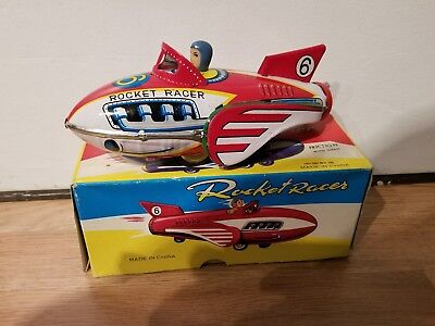 Vintage Tin Friction Rocket Racer #6 Toy w/Box