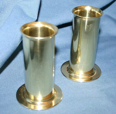 A Pair of Polished Brass Vases