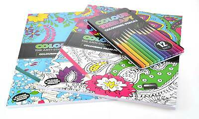 Colour Therapy Adult Colouring  Pack 2 x A4 Books Plus 12 Coloured Pencils