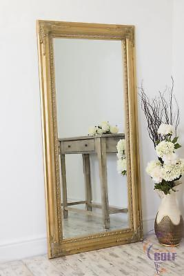 Extra Large Gold Antique Style Wall Mirror Wood 5Ft10 X 2Ft10 178cm X 87cm