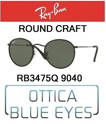 5b9d26d456e RAYBAN RB 3475Q 9040 ROUND CRAFT sunglasses Ray Ban leather Black Green G15  New