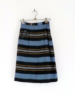 "Vtg 50s 60s Girls Black Blue Gray Wool Striped Mod Retro Skirt 22"" Waist Sz 6"