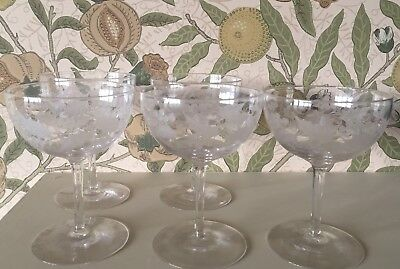 """Edwardian Etched  Holly And Berries 4 3/4"""" Champagne Coupe  X 5"""