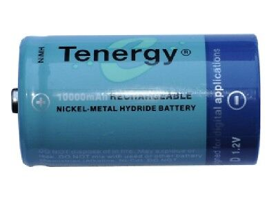 10-Pack D Tenergy NiMH Rechargeable Batteries (10000 mAh)