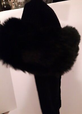 Vintage boutique Kates Canada ladies Winter faux fur hat new with tags black nwt