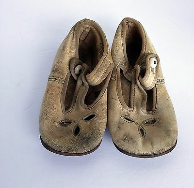 Antique Vintage Leather Baby toddler Shoes