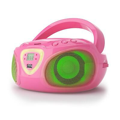 AUNA ROADIE BOOMBOX CD-Radio CD Player LED-Beleuchtung Rythmussteuerung pink
