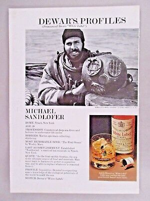 Michael Sandlofer Dewar's White Label Profiles PRINT AD - 1976 ~~ deep-sea diver