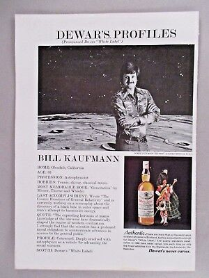 Bill Kaufman Dewar's White Label Profiles PRINT AD - 1976 ~~ astrophysicist