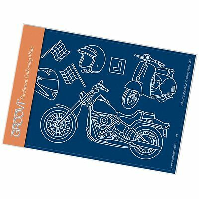 CLARITY STAMP GROOVI A6 Parchment Embossing Plate MOTORBIKES GRO-TV-40609-02