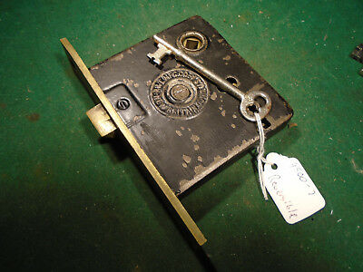 EARLY RUSSELL &  ERWIN MORTISE LOCK w/ KEY: RECONDITIONED! (9500-7)