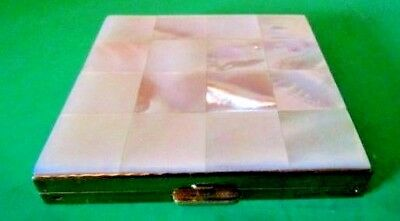 Vintage Volupte Usa Pressed Powder/blush Mirrored Compact Mother Of Pearl