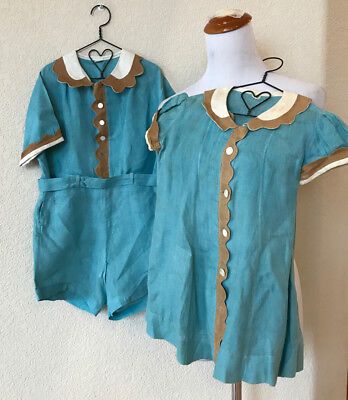 Lot Matching CHILD'S VINTAGE PETER POLLY TOGS BLUE Boy & Girl Jumpsuit Dress 3/4